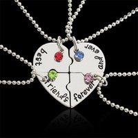 Pendant Necklaces Broken Heart Blue sky Blue Red Rhinestones Necklace Friends Forever 4 Pcs Splicing Friendship Gifts