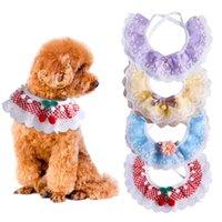 Fairy wind lace neck spit towel plaid flower cat collar necklace pet accessories dog fashion