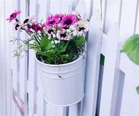 Hängande krukor, trädgårdspottar Balkongplantor Metal Bucket Flowershållare - Avtagbar krok (8 st) 1182 V2