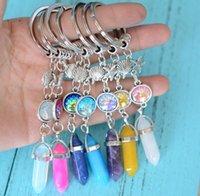 Quartz Crystal Key Rings Pendulum Keychain Mermaid Fish Scales Natural Stone Hexagonal Prism Chakra Fashion Key Chain Jewelry Gifts Keyrings