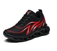 RYE35 الرياضة أحذية الرجال خفيفة الوزن عداء شبكة أحذية رياضية لهب تحلق المنسوجة outdoosr شبكة جورب الركض المشي أزرق أسود