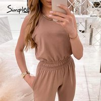 Women's Two Piece Pants Simplee Casual Solid Women Pieces Suit Summer High Waist Sleeveless Crop Top Elastic Waistband Long Fashion Lady Set