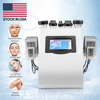 Lager i US New Promotion 6 i 1 Ultraljuds kavitation Vakuumradiofrekvens Lipo Laser Slimming Machine för spa lager i USA