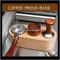 Cozinha cafímile, Bar de jantar Home Garden Drop entrega 2021 Coffeeware Sets 51 / 58mm Manual Manual de madeira Tamper Titular Mat Barista Espresso