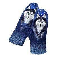 Kobiety Faux Cashmere Rękawiczki Floral Wolf Cat Animal 3D Print Thermal Ciepłe rękawiczki T5UF Pięć palców