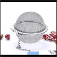 Coffee Kitchen, Dining Bar Home & Garden Drop Delivery 2021 304 Stainless Steel Strainer Pot Infuser Mesh Ball Filter With Chain Tea Maker To