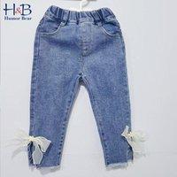 Humor Urso Kids Calças de brim das crianças Calças de vestuário Meninas Lace Bow Primavera Outono Bebê