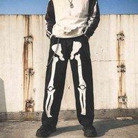 Erkekler İskelet Boy Siyah Kot Pantolon 2021 Denim Erkek Streetwear Hip Hop Harem Pantolon Yüksek Wasit Denim Tulum