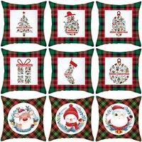 Christmas Red Green Plaid Pillowcase Santa Claus Peach Skin Pillow Cushion Home Pillowslip Decorations 10 styles w-01157