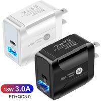18W شواحن سريعة سريعة USB C PD QC3.0 EU الولايات المتحدة المملكة المتحدة AC محول الطاقة شاحن الجدار لآيفون 11 12 برو ماكس سامسونج إل جي