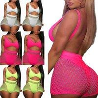 2 pieces Set Women Fishnet Sheer Mesh Playsuit Bodysuit Romper Set Sleeveless Front Hole Backless Top Tank+ Shorts sets