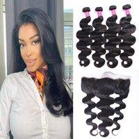 Virgin 10A Grade Brazilian Hair Bundles with Frontal Closure Body Wave Human Wet Wavy Closure Remy Weave Wholesale