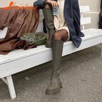 Boots Brand Design Female Solid Slip On Knee High Fashion Platform Chunky Heels Motorcycle Women Casual Party Shoes