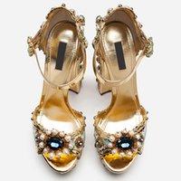 2021 retro court high heel shoes chunky heel platform peep toe ethnic embroidery sandals for women