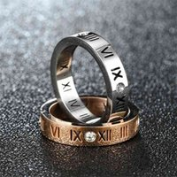 Roman numeral hollowed out diamond pair fashion simple ring hand decoration