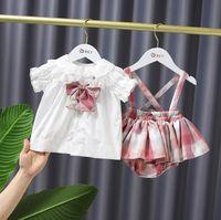 Предварительная продажа летние девушки принцесса одежда наборы одежды детей клетчатые наряды детей кружевной бабочку галстук рубашка + клетки подвесшие юбки 2шт одежда костюмы S1050