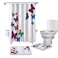 ستائر الحمام الخشب الحبوب الرجعية فراشة الستار الملونة مجموعات غير زلة السجاد غطاء المرحاض غطاء الحمام حصيرة الحمام