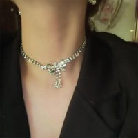 Stud Summer Fashion Bow-shaped Rhinestone Necklace Dinner Party Wedding Statement Jewelry Accessories