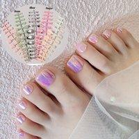 False Nails 24pcs Detachable Square For Foot Acrylic Fake Press On Girls Aurora Mirror Toe