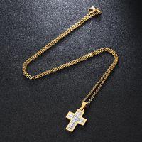 Pendant Necklaces CZ Zircon Cross Necklace For Men Women Gift Hip Hop Gold Silver Color Chain Religion Jewelry 1PC