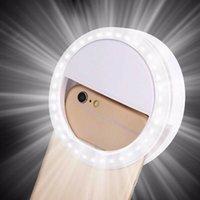 미국 주식 소설 조명 화이트 셀카 휴대용 LED 링 필 라이트 카메라 USB 충전 전화에 대 한 조정 가능한 밝기