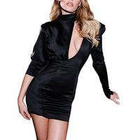 Dresses Cryptographic Spring Fashion Black Mini Dress Women Sexy Cutouts Backless Date Night Party Club Satin Spliced Dresses