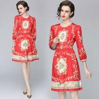 Fashion Girl Dress Three Quarter Sleeve Palace Printed Dress High End Fashion Summer Autumn Lady Dresses