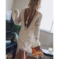 Casual Dresses Jastie Backless White Bestickte Spitzenkleid Für Frauen Boho Beach Kurzer Tiefe V-Ausschnitt Sexy Mini Weibliche Vestidos