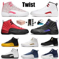 2021 Jumpman 12 With Box Mens Basketball Shoes 12s Twist Womens Arctic Punch Dark Concord Reverse Flu Game University Gold Blue Trainers Sneakers Size 36-47