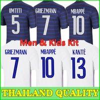 2021 فرنسا Soccer Jersey Mailleots Football Mailleot Equipe De 20 21 Mbappe Grizmann Kante Pogba Men + Kids Kit