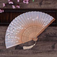 믹스 컬러 중국 스타일 실크 핸드 팬들이 인쇄 된 꽃 나비 나무 손잡이 스페인어 결혼식 춤 소품