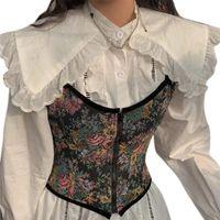 Belts Camisole Corset Ladies Overbust French Design Floral Vintage Tank Vest Top Bustier With Elastic Belt Waist