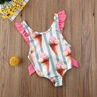 Clothing Sets Baby & Children's Ice Cream Infant Kid Girl Swimwear Striped Bow Bikini Swimming Clothes 6M-4Y