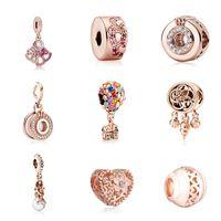 Fit Pandora Charm Bracelet European Silver Charms Beads Crystal Fan Crown Dream Catcher Mermaid Daisy Dangle DIY Snake Chain For Women Bangle Necklace Jewelry