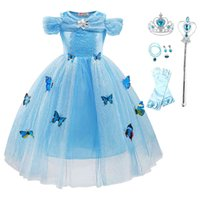 Children Princess Costume Party Butterfly Cinderella Fancy Dress Up New Christmas Birthday Wedding Clothes Girl Evening Disguis X0401