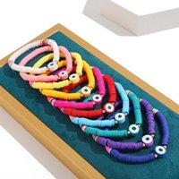 Charm Bracelets Bohemia Evil Eye Polymer Clay Bangle For Women Multicolor Handmade Disc Beaded Elastic Rope Bracelet Female Jewelry