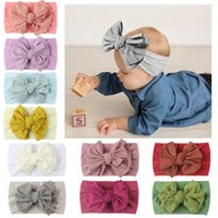 Newborn Baby Boy Girl Solid Bow Hair Band Accessories Soft Elastic Turban Hairbands Infant Toddler Photography Props Kids