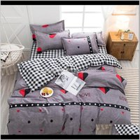 Supplies Textiles Home & Garden Drop Delivery 2021 Black And White Linen Set King Size Grey Heart Printed Bedding Sets Ropa De Cama Y Edredon