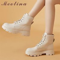 Meotina Women Genuine Leather Motorcycle Boots Platform Thick Med Heel Ankle Round Toe Lace Up Ladies Autumn Apricot 211021