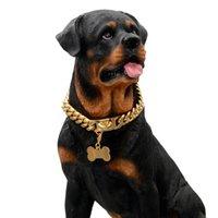 14mm Kubaner Link Hundehalsband Kette Halsbänder Gold Starke Edelstahl Pet Supplies Zubehör Knochen Anhänger Ketten