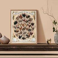 Peintures vintage la volaille de la volaille d'affiche mondiale de poulet poulet poules de poules mur arts toile peinture picture agricole décoration de cuisine