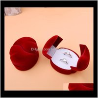 Pouches, Bags Packaging & Jewelryred Veet Heart Shaped Engagement Wedding Jewelry Couple Box For Two Rings Holder Display Packaging1 Drop Del
