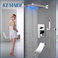 크롬 8-16 인치 Rainfall 샤워 욕실 수도꼭지 욕조 비 사각형 LED 라이트 헤드 세트 세트