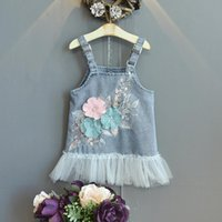 Girl's Dresses Girls Denim Strap Dress 2021 Summer Toddler Baby Girl Korean Style Fashion Applique Children's Cute Beautiful Flower