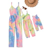 Family Matching Outfits Mother Daughter Jumpsuit Girls Children Clothes Baby Romper Kids Braces Suspenders Beach One Piece Clothing B6272