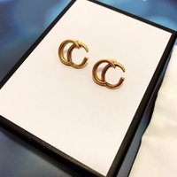 Women Classic Stud Earring Fashion Gold Eardrop Vintage Hollow Letter Earrings Personality Party Jewelry With Box Package
