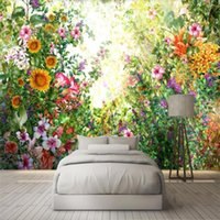 Wallpapers Milofi Custom 3D Wallpaper Mural Watercolor Hand Painted Flowers And Trees Wood Living Room Bedroom Background Wall Decoration W