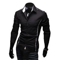 Piping Fit Shirts 5902 Muscle Men's Shirt Edge Sleeve Luxury Dress Casual Designer 3 Stylish Color Long T-Shirts