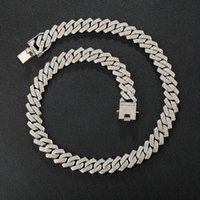 Hip Hop AAA Bling 13.5MM Prong Cuban Chain 2 Row Iced Out Men's Necklace Rhinestone Zircon Paved Necklaces For Men Women Jewelry