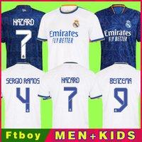 Real Madrid Jerseys 21 22 كرة القدم قميص كرة القدم Alaba Hazard Sergio Ramos Benzema Modric Asensio Camiseta الرجال + Kids Kit 2021 2022 الزي الرابع